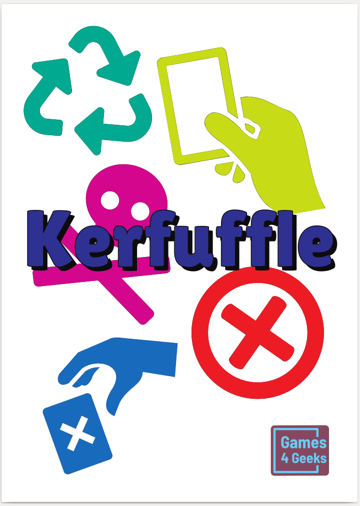 Kerfuffle - Kerfuffle is a fast-paced game for two or more players.To win, you need have either at least one copy of all five card types in play or all five copies of one card type.None of the cards used in the game contain any words, which makes it language independent and a great game to play with kids.The print-on-demand version contains decks for two players.