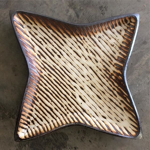 Star platter.  #courtneymartinpottery #womenwhowoodfire #ceramics #potteryispolitical #star #handmade #contemporarycraft #moderncraft