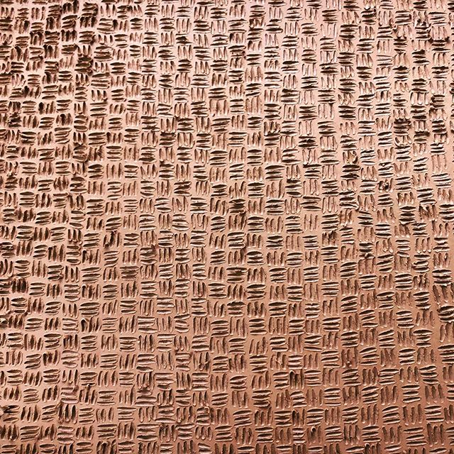 Trying something. Carved clay.  #courtneymartinpottery #womenwhowoodfire #ceramics #tile #basketweave #workinprogress