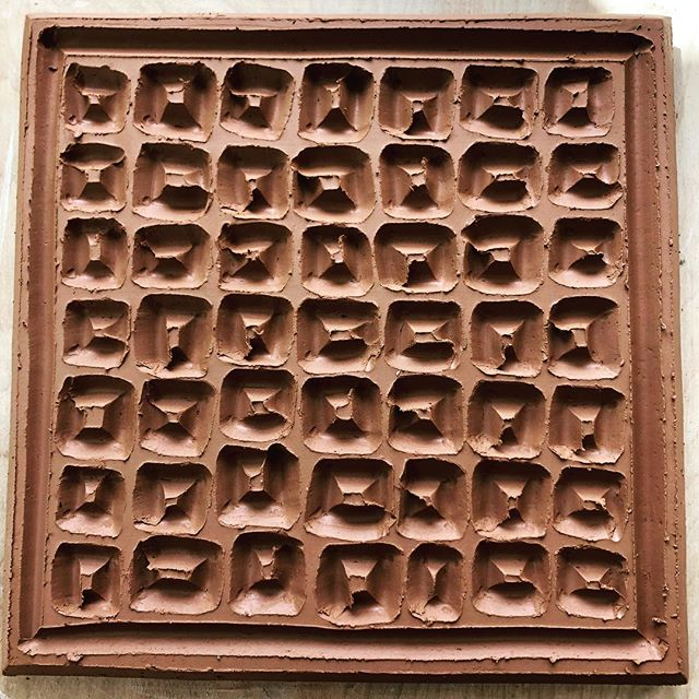 More carving. Work in progress. . #courtneymartinpottery #ceramics #carving #casting #tile #womenwhowoodfire #workinprogress #clay