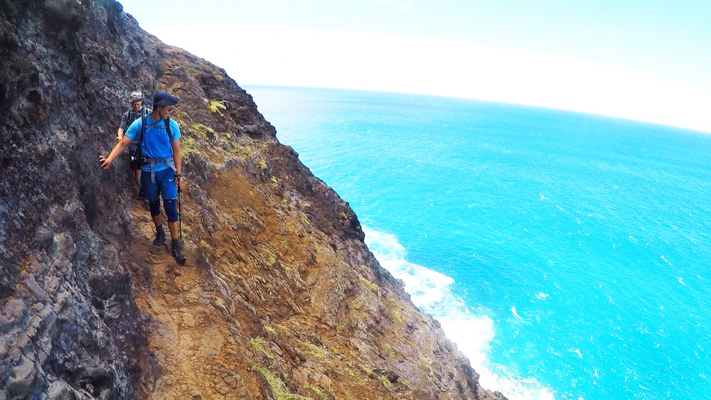 A walk down the path of a start-up -- thrilling and terrifying, but with an unbelievable view!  (Crawler's Ledge, Napali Coast, Kauai, 2017)