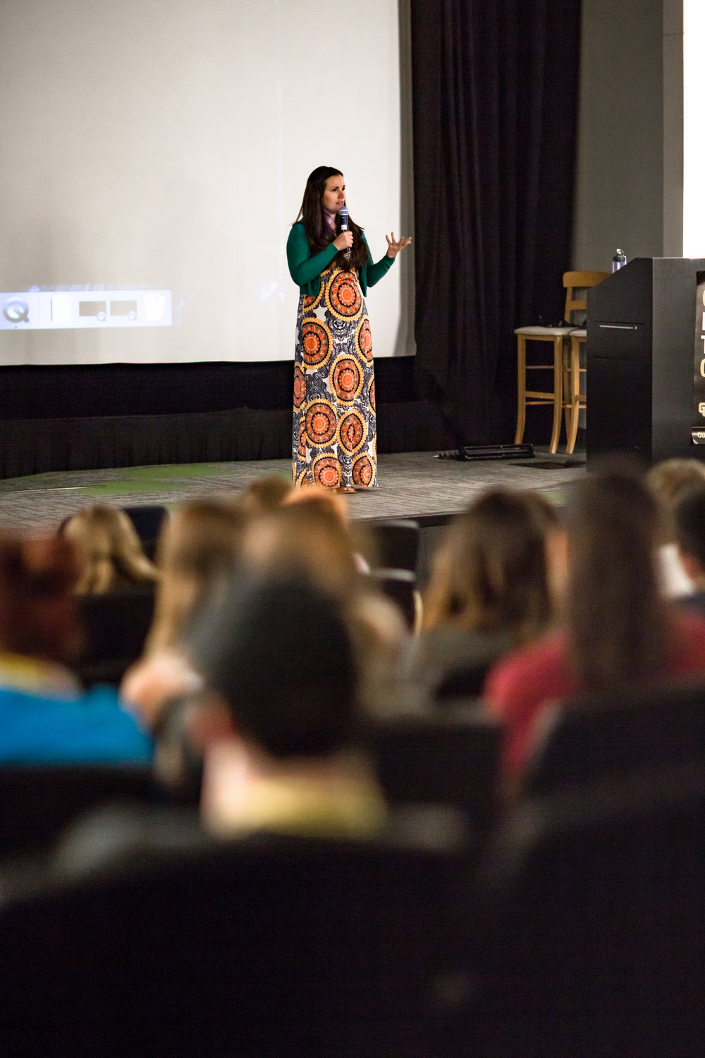 Sarah speaking to high school students at CU Denver LYnx arts camp program -