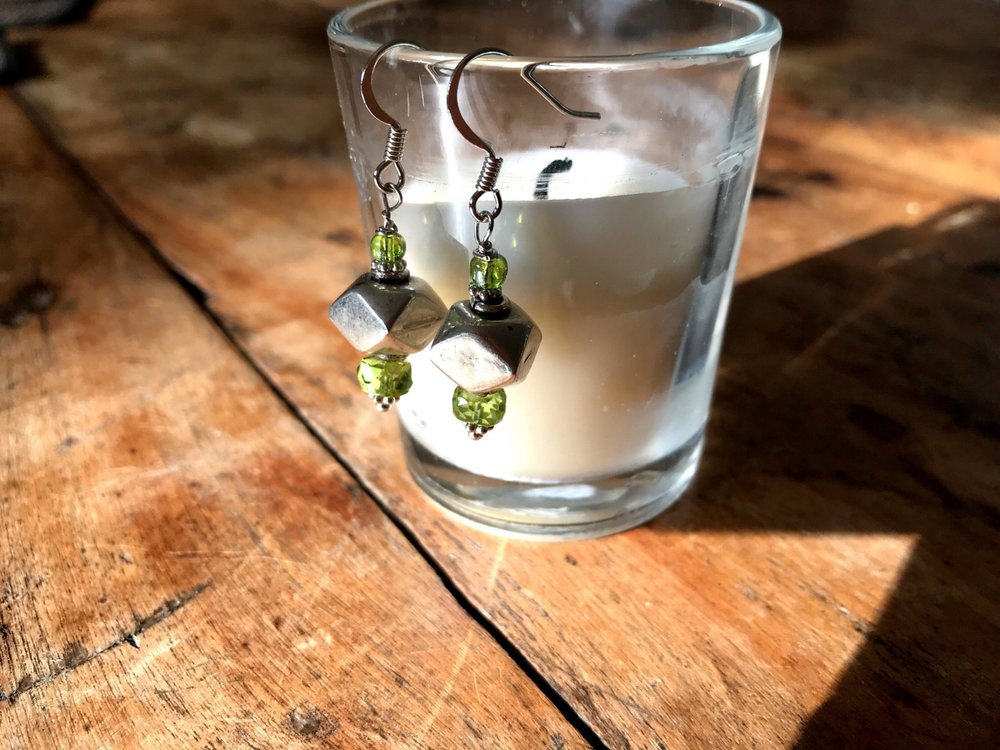 A sample of a pair of earrings made from an Earrings for Peace event!