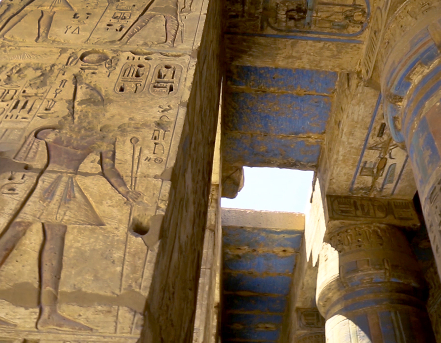 Pigments from ancient paint can still be seen adorning stunning temples throughout Luxor, Egypt. The deeply carved hieroglyphs on towering walls and grand columns could only once be seen by high priests and the pharaoh—closed off to any other ancient people. Today, they are open to tourists. The filmmaker explored many while researching for the documentary and interviewing experts.
