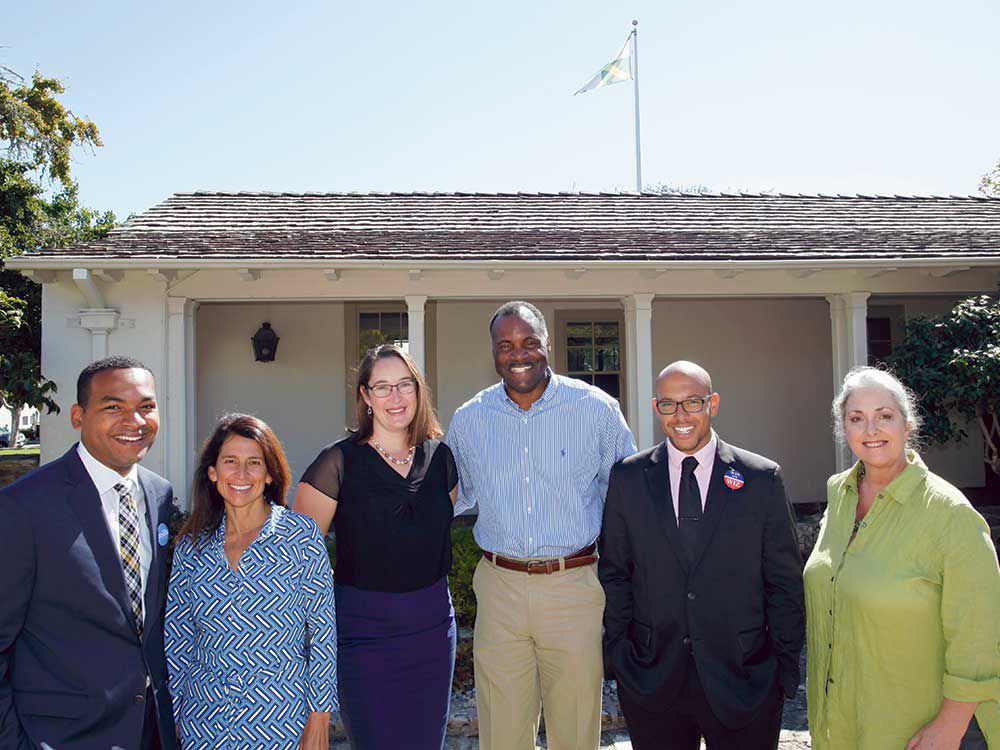 Click HERE to read Political up-and-comers team up to tackle the housing crisis with a regional approach. - Founding members of the Monterey Regional Housing Coalition include, from left to right: Tyller Williamson, Dionne Ybarra, Wendy Root Askew (an MPUSD board member), Ian Oglesby, Jon Wizard and Alison Kerr.