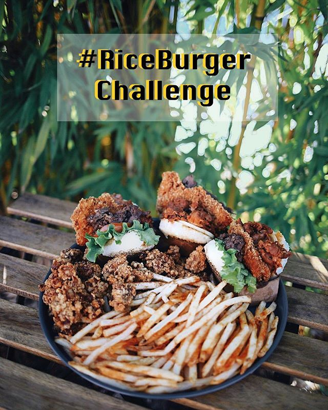 We're super excited to announce a new tradition in the Rice Burger family and that is the #RiceBurgerChallenge! Finish three Farm Houses, a pound of popcorn chicken and fries within 20 minutes and you win a free meal and a T shirt! The challenge will officially start March 15th and will be offered for a limited time only, so stay tuned! 😎🔥