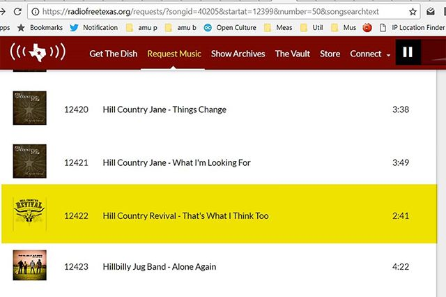 "Do we have any Radio Free Texas listeners among our fans? Did you know that you can request our current single ""That's What I Think Too"" by going to the Radio Free Texas Website - click on Request Music - below Jump To put in 12422 and it should take you to our song. Then simply click on the song - and ""voila"" you sent your request."