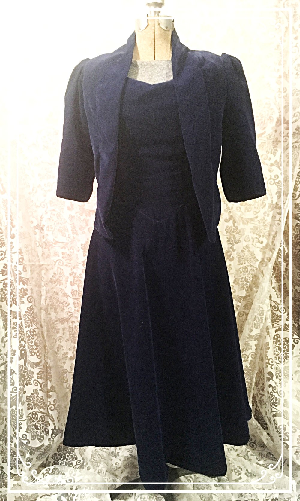 Blue Velvet Dress with Matching Jacket -