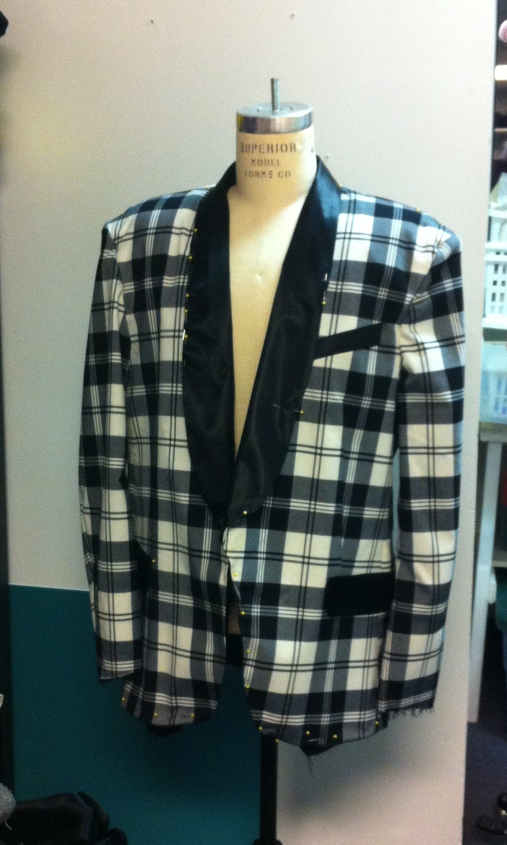 Plaid Tux jacket with shawl collar - Designed by Vanessa LeuckFor An AMT orginal Show