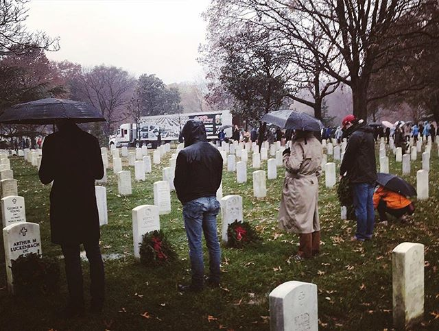 "Such a powerful experience to lay wreaths at Arlington National Cemetery. Thousands of people lined up outside the gates before they even opened. In the rain and the cold people waited, just to have the privilege to honor some of America's heroes. ""As we sit here in the rain, thinking how uncomfortable we must be these minutes as our suits get wet and our hair gets wet and our shoes get wet, I think it's all the more fitting that we remember ... the rain wasn't rain — it was bullets"" -Justin Trudeau."