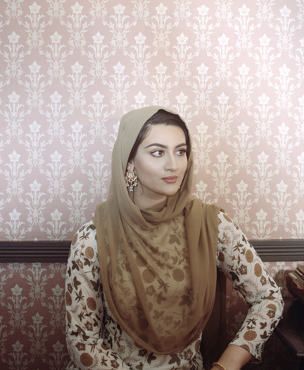 Women From The Pakistani Diaspora, by Maryam Wahid.  A self-portrait representing the style of women who migrated to Great Britain from Pakistan. This image is from a project about the country's South Asian diaspora.