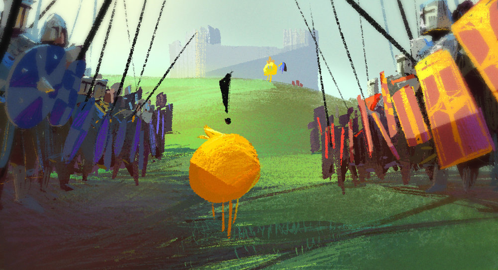 One of the Apps that didn't make it into the movie had knights in it.  I always though it would be fun to see these little yellow ball characters running around in a realistic world.