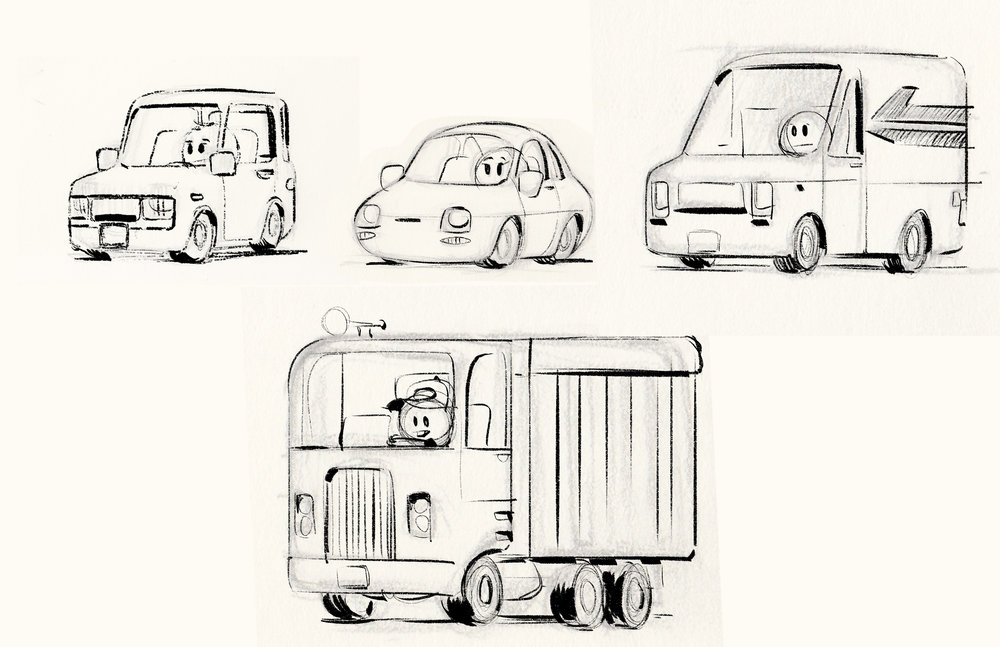 My crappy Emoji vehicle ideas that  Yashar Kassai took and turned into wonderful designs.