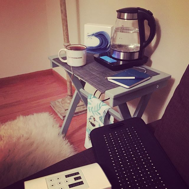 "I love rising early for my ""me time"" rituals. 30-45 minutes on my Infrared light system then warm tea and a blanket while I do my planning with purpose writing to get clear and inspired about who I plan to BE as my day unfolds.  The silence, the warmth, the self love and empowerment.... ahhh! I choose what I create.  #thisonelife #fullplate #planningwithpurpose #wechoosewhatwecreate"