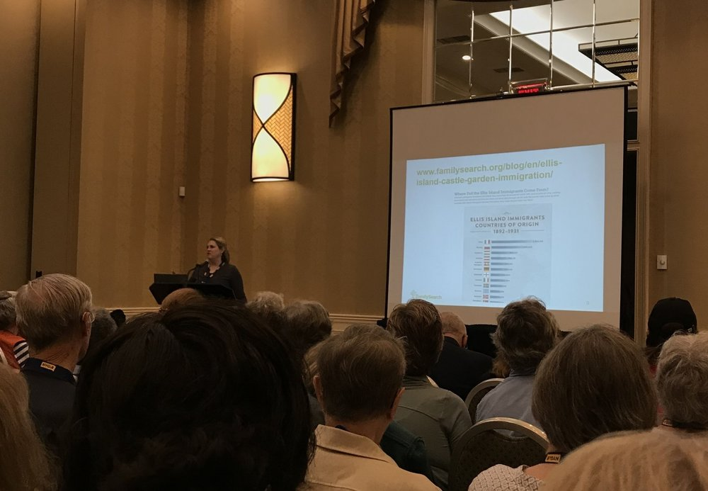 "Cherie Bush giving a presentation at the NYG&B Conference about FamilySearch and the ""Do You Know.."" study."