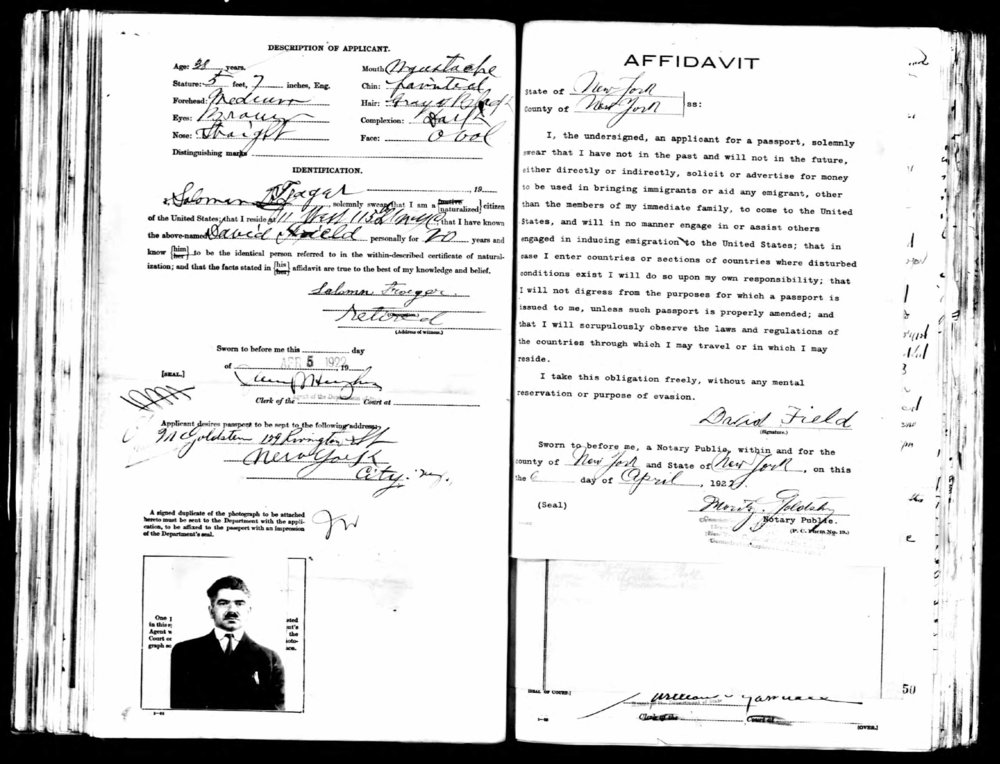 Part of David's file for his passport application in 1922*