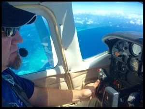 Scott Grote at the controls of 19Z northbound over the Gulf of Mexico.