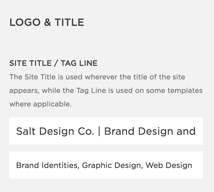 Adding a site title to Squarespace website to improve SEO