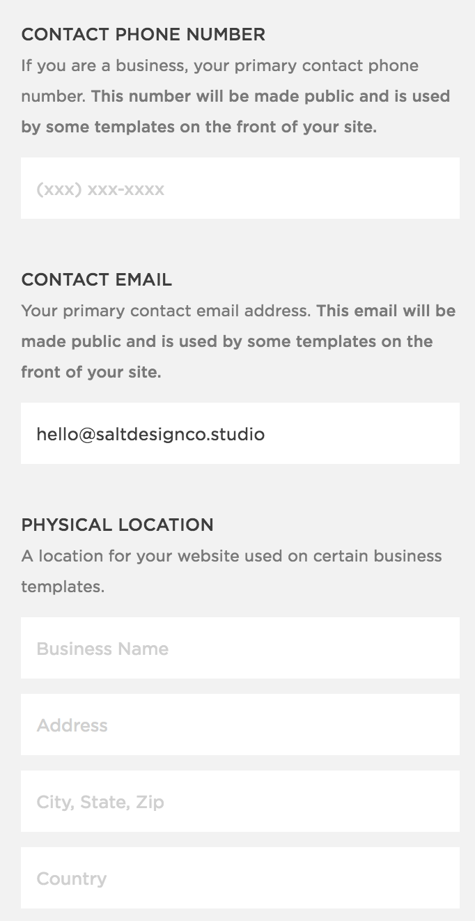 Adding contact info to Squarespace