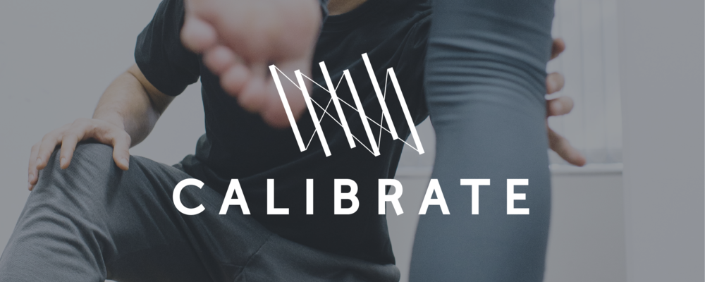 Calibrate Pilates Header - A clinician adjusting a client with the Calibrate logo on top.