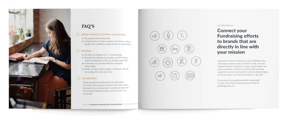 Givalry presentation pages showing FAQs and Values represented by icons.