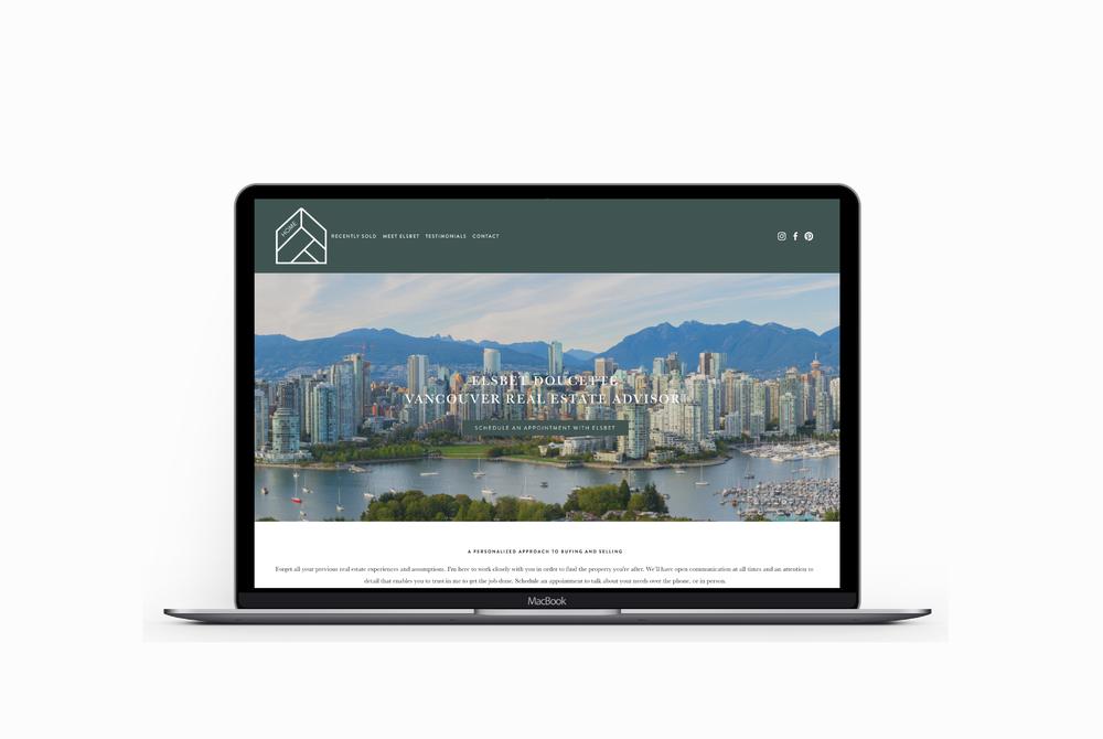 Elsbet Doucette website on a Macbook Pro - training client of Salt Design Co.