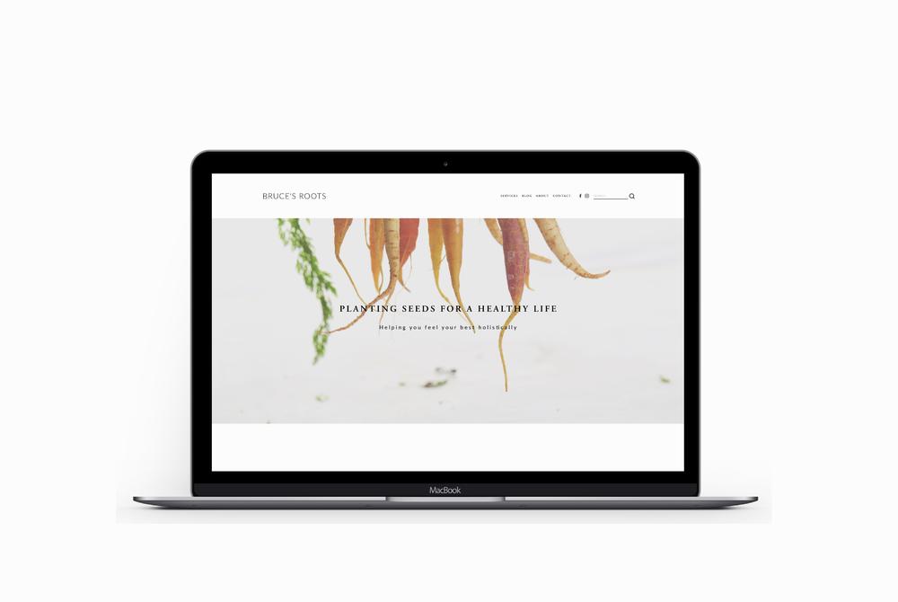 Bruce's Roots website on a Macbook Pro - training client of Salt Design Co.