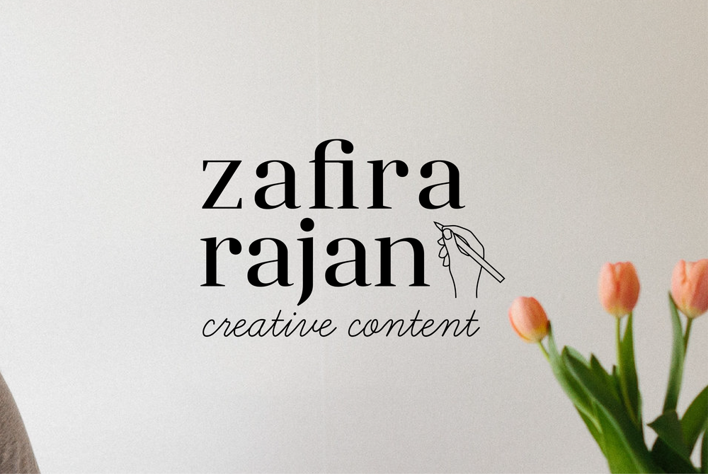 Zafira Rajan's logo designed by Salt Design Co. shown on a photo with tulips