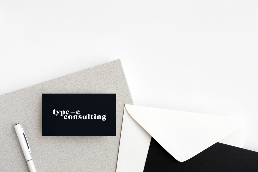 Type C Consulting logo on a business card