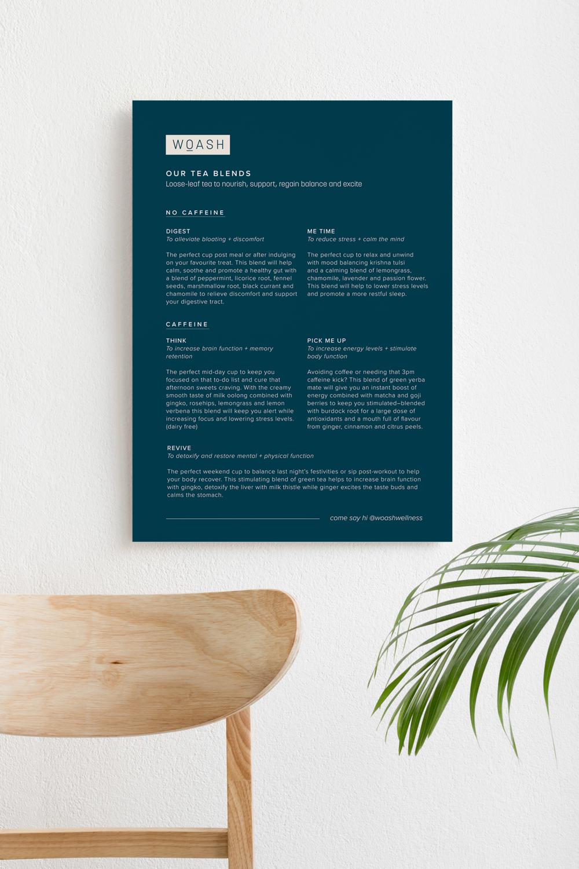 Woash Wellness menu design for cafes and shops in Vancouver designed by Salt Design Co.