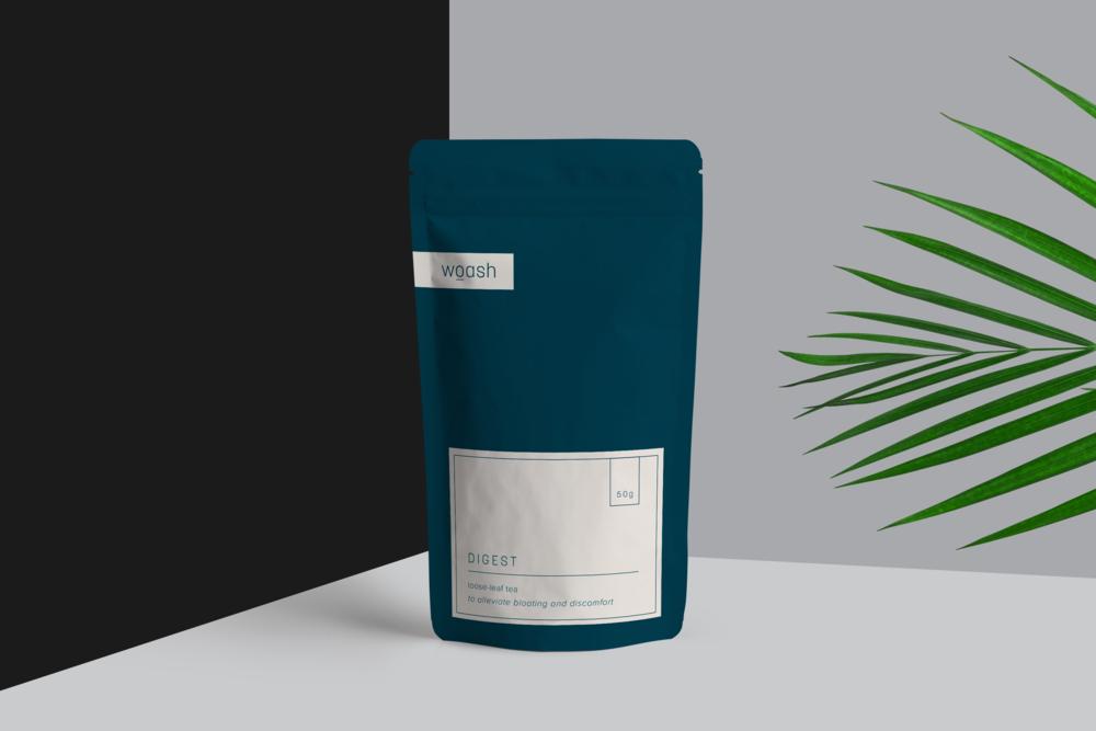 Woash Wellness blue tea pouch packaging design by Salt Design Co.