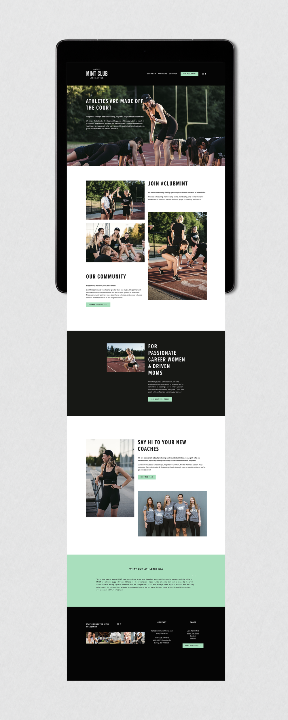 Full view of the Squarespace website designed for Mint Club Athletics in White Rock, BC