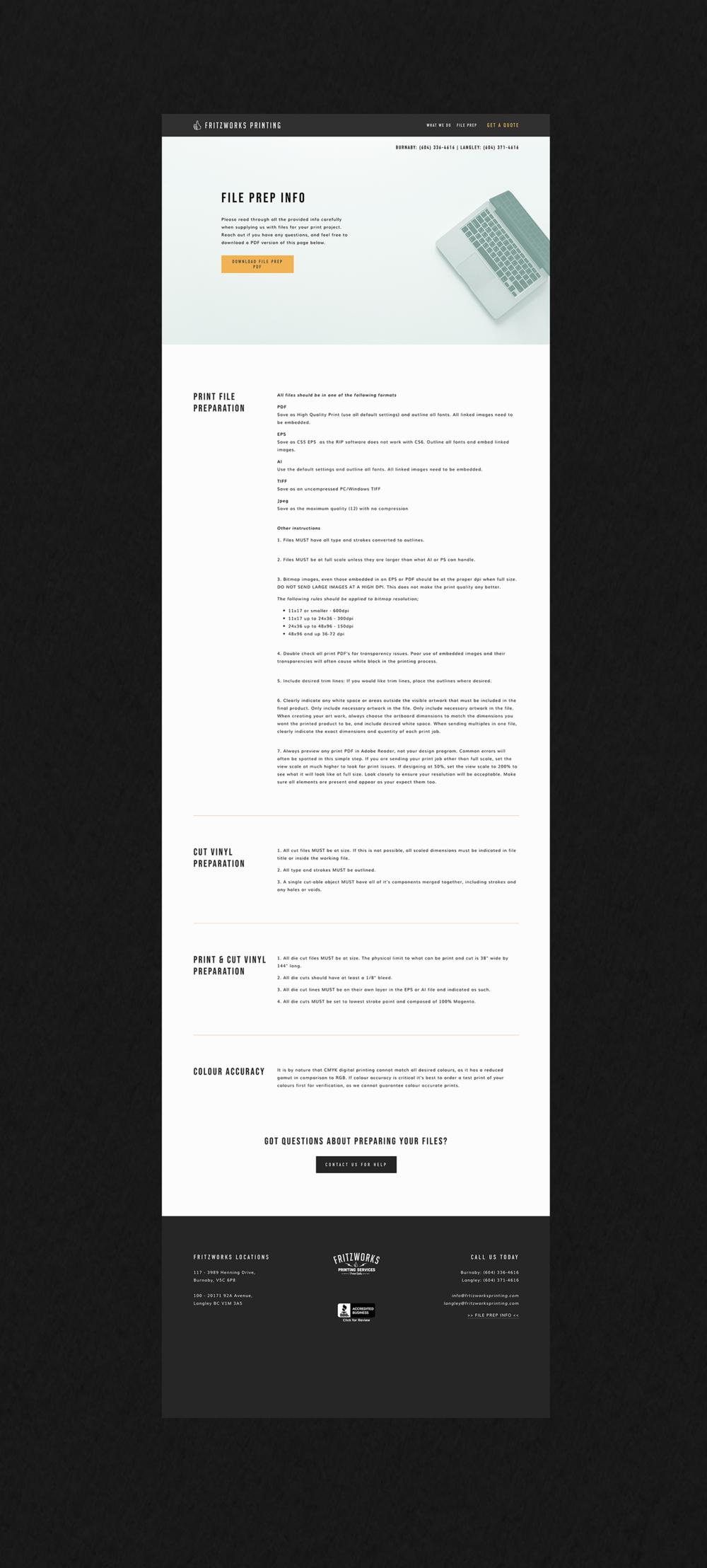 Fritzworks Printing 'File Prep' page shown on a black background designed by Salt Design Co.