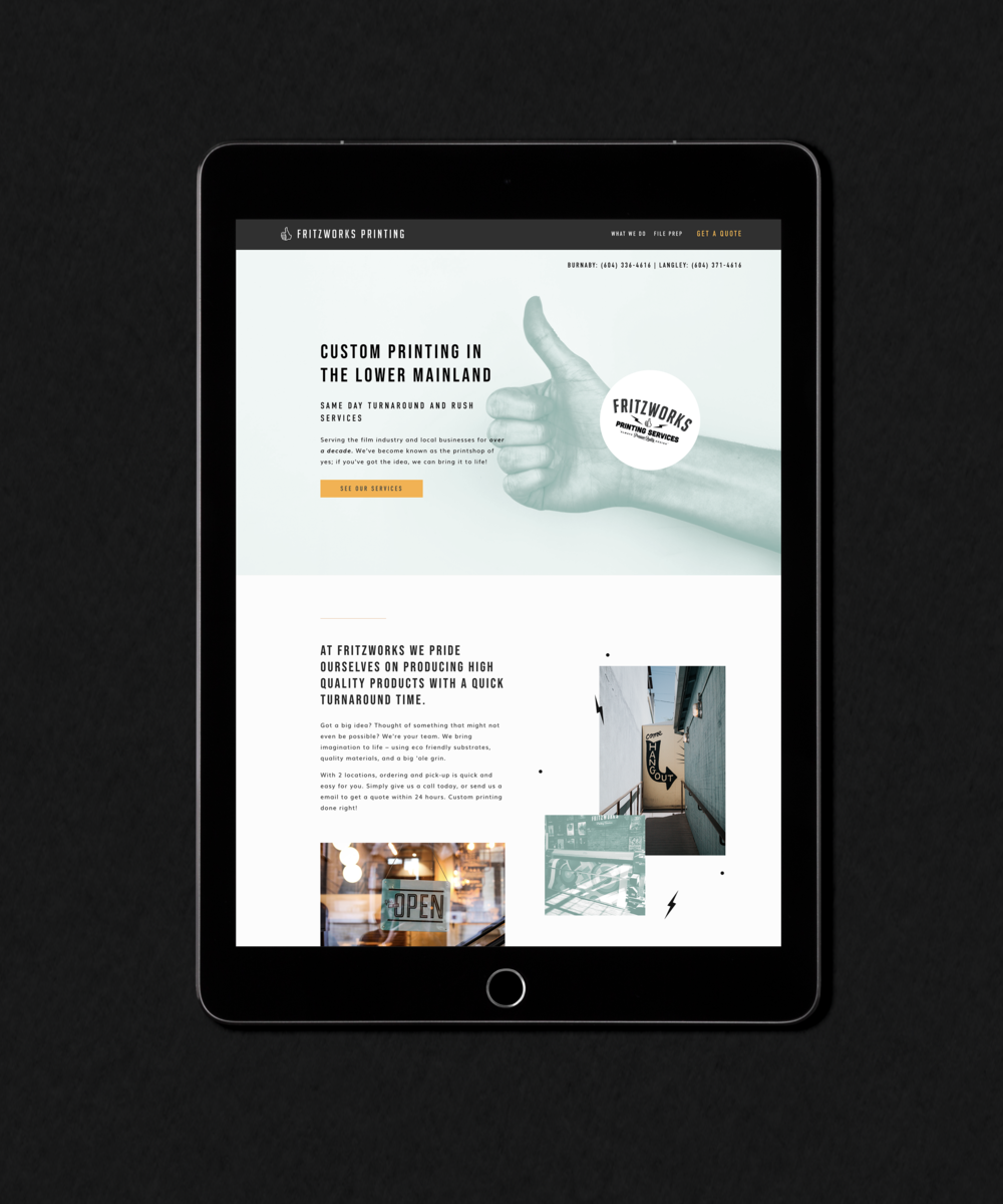 Fritzworks Printing homepage shown on an iPad as part of the Salt Design Co. portfolio