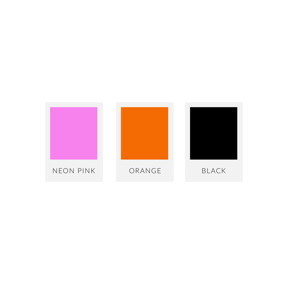 Lyn Sakari colour palette features a neon pink, a bright orange, black and white