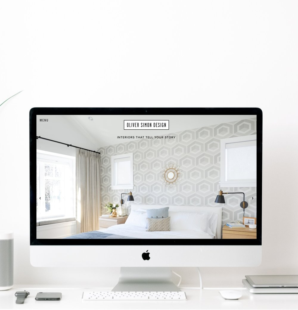 iMac mockup of the Oliver Simon Design website, as designed by Salt Design Co.