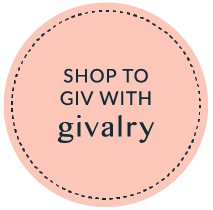 """Givalry """"Shop to Give"""" social buttons in Pink"""