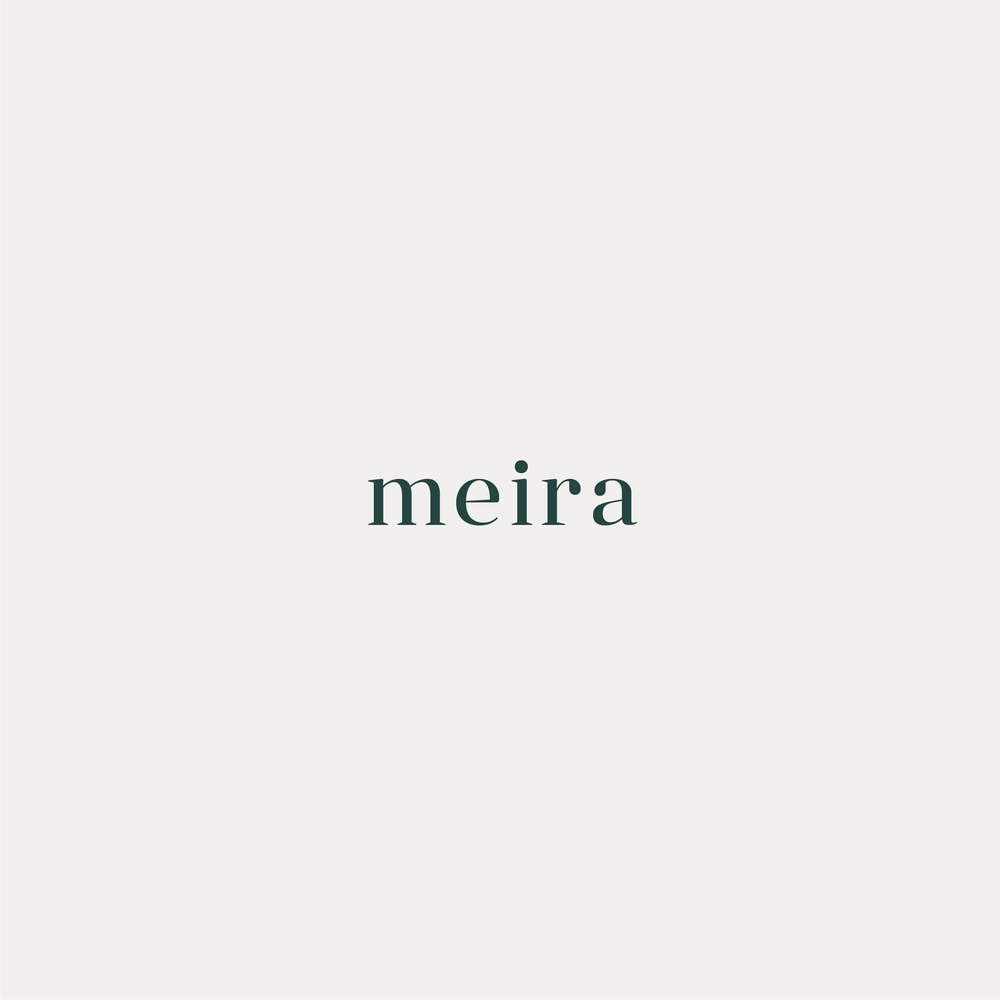 Meira Consulting wordmark in deep forest green on a grey background.