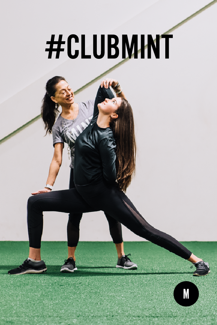 #clubmint logo on a photo of a woman and young girl doing a yoga position.