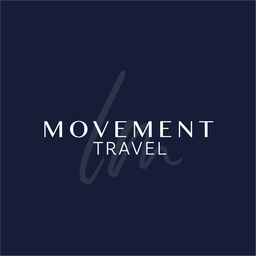 White LM Movement Travel with opaque script on a blue background