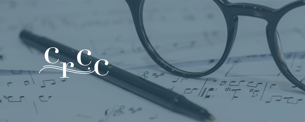 Musical notes and glasses with Campbell River Children's Choir logo