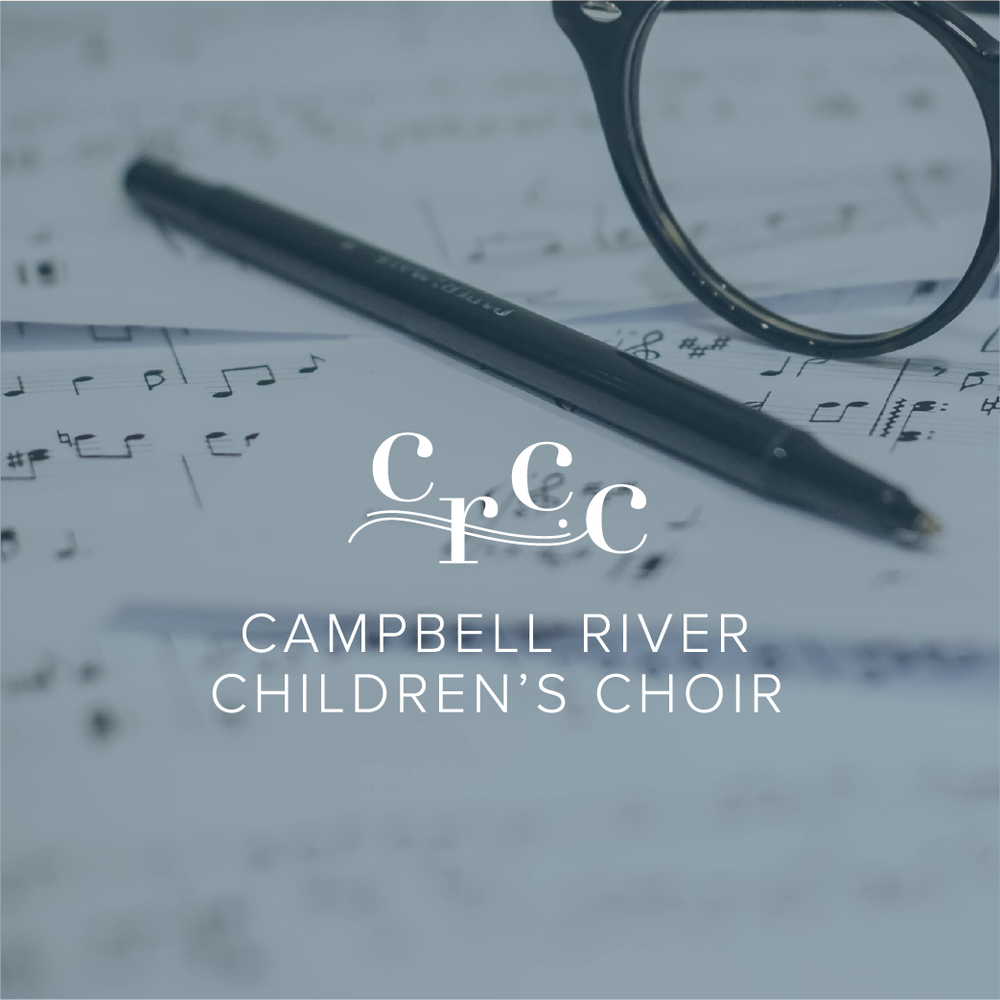 CRCC logo on a faded blue background ontop of a photo of musical sheets