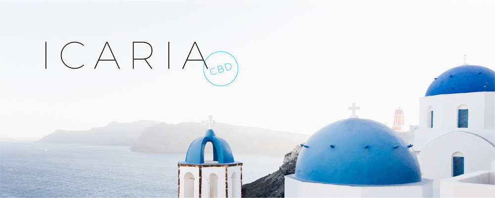 Icaria logo with stamp CBD on a photo of a greek island with buildings with blue roofs.