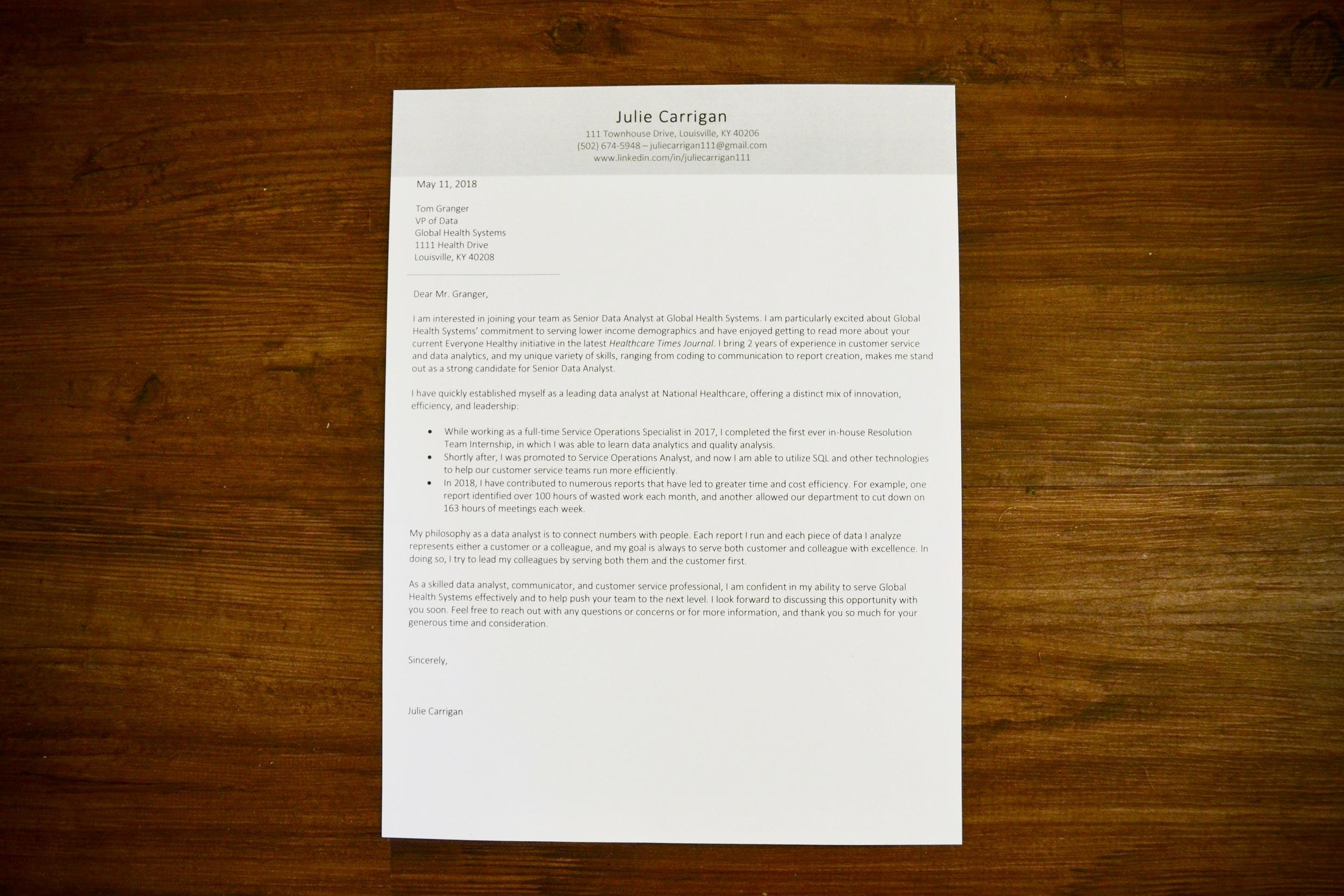 Cover Letter — Good Resume Co
