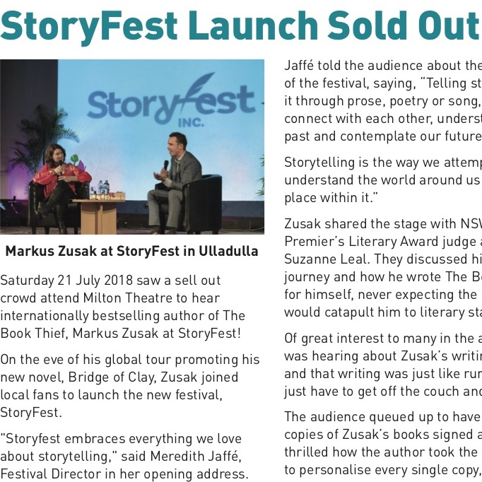Storyfest launch sold out - Local Express - July 2018Read on . . .