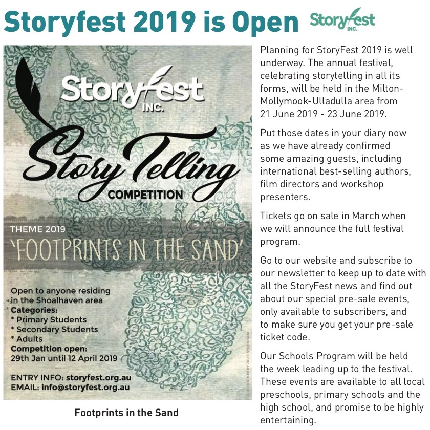 Storyfest 2019 is open - Local Express - February 2019Read on . . .