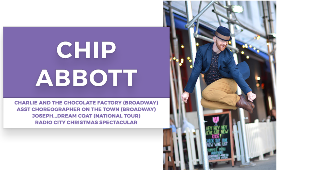 chip abbott  | Stage Door Workshops | In-Studio Workshops, NYC LA Dance Trips, Broadway Dance Master Classes, Choreography, Intensives | Broadway, So You Think You Can Dance, Hamilton, Wicked, Aladdin, World of Dance, Beyonce, Alvin Ailey, Shaping Sound