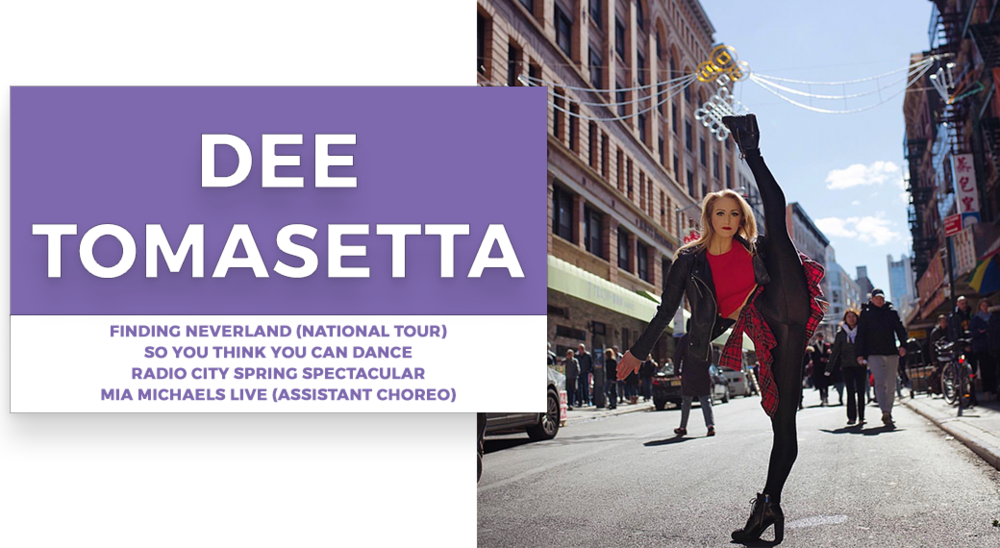 dee tomasetta | Stage Door Workshops | In-Studio Workshops, NYC LA Dance Trips, Broadway Dance Master Classes, Choreography, Intensives | Broadway, So You Think You Can Dance, Hamilton, Wicked, Aladdin, World of Dance, Beyonce, Alvin Ailey, Shaping Sound