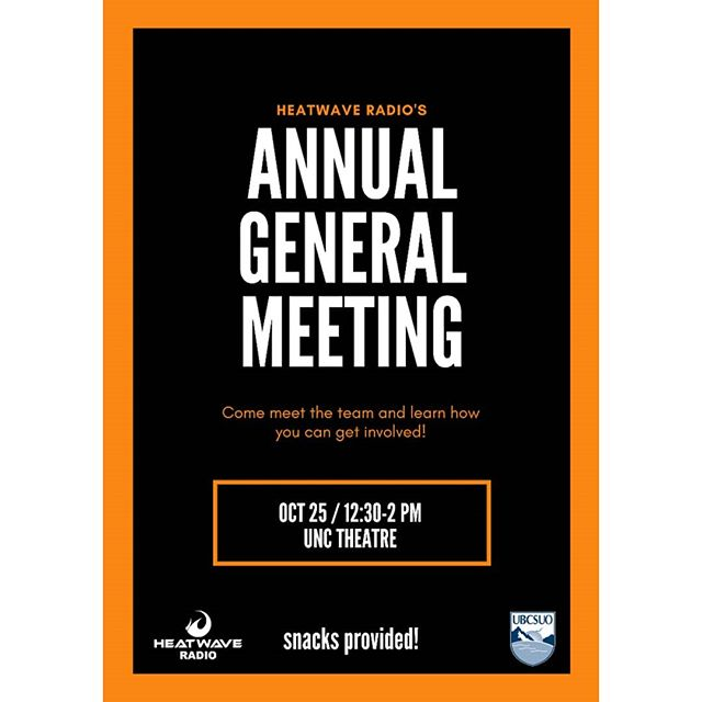 Come to our AGM next week Thursday! We'll have free pizza and snacks