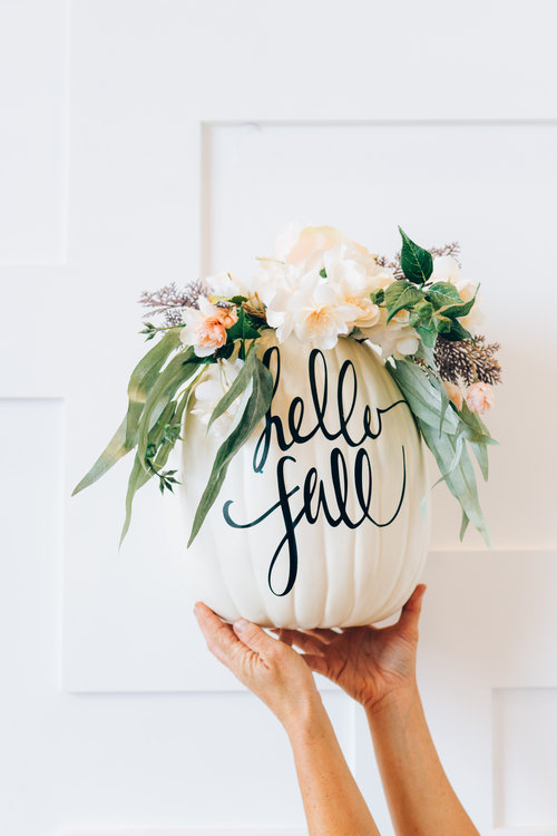 monogrammed sentiment pumpkin with succulents